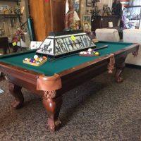 Print  Pool Table With rack, balls, sticks and hanging light