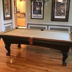 8' Olhausen Pool Table, Chairs, Rack and Pool Cues